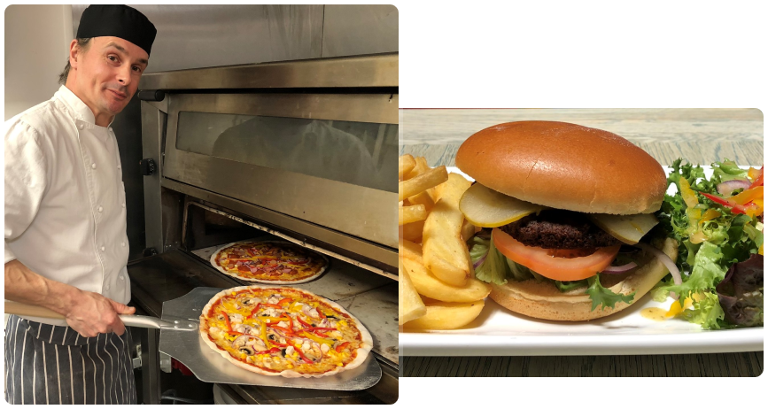 pizza and burger at Mega Fun